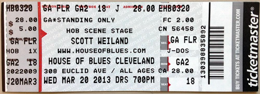 Scott Weiland House Of Blues Cleveland Ticket
