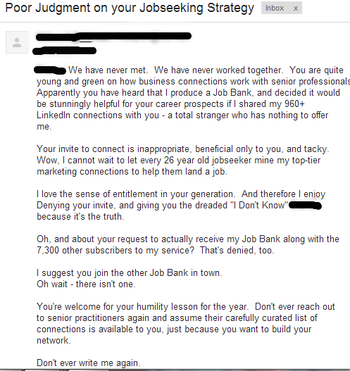 Unprofessional LinkedIn Response